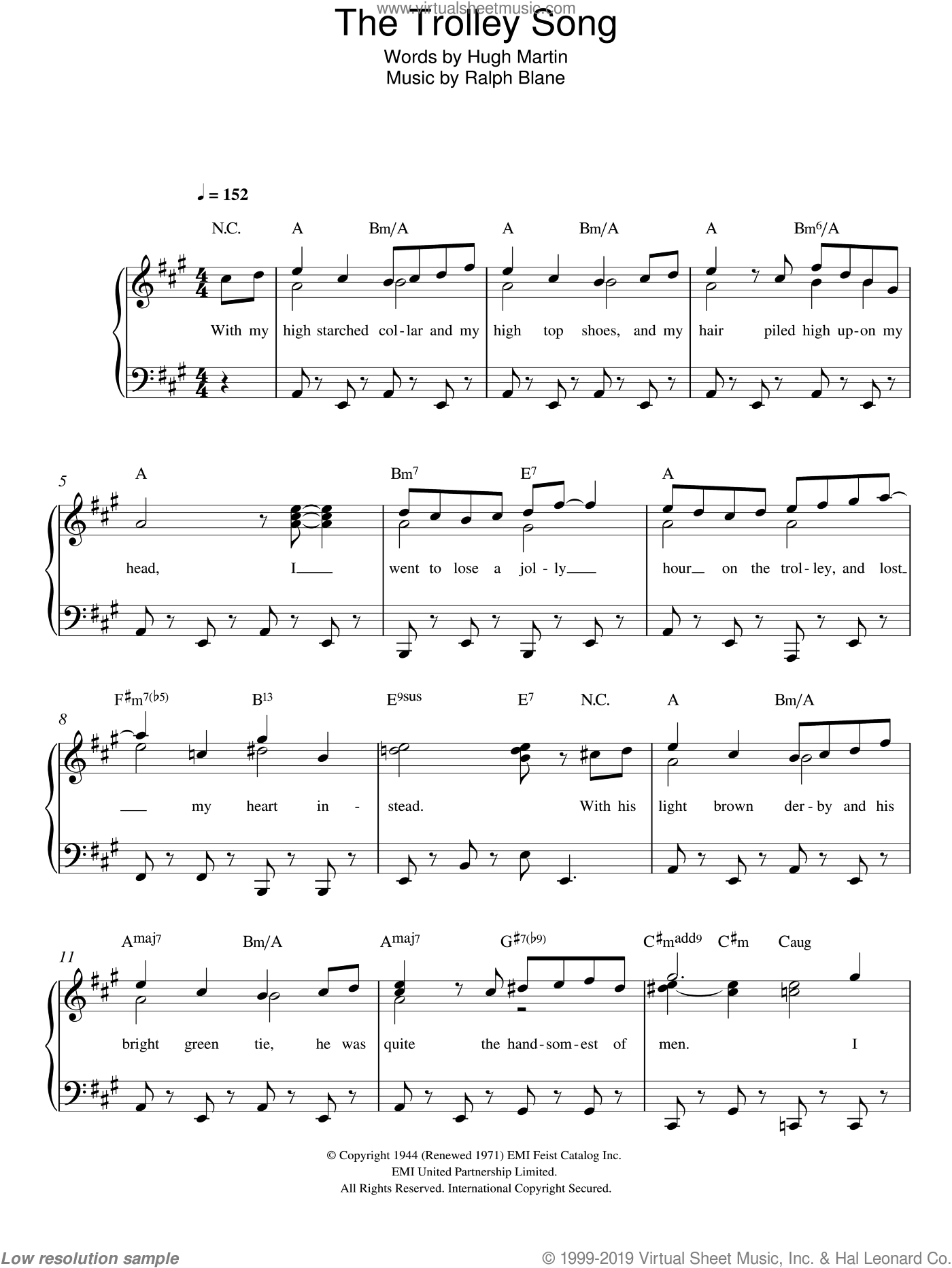 The Trolley Song (from 'Meet Me In St. Louis') sheet music for piano solo by Judy Garland, Hugh Martin and Ralph Blane, easy skill level