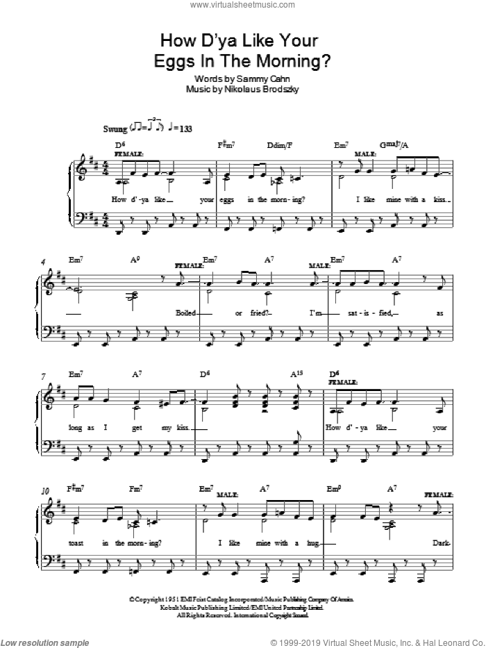 How D'ya Like Your Eggs In The Morning? sheet music for piano solo by Sammy Cahn and Nicholas Brodszky, easy skill level