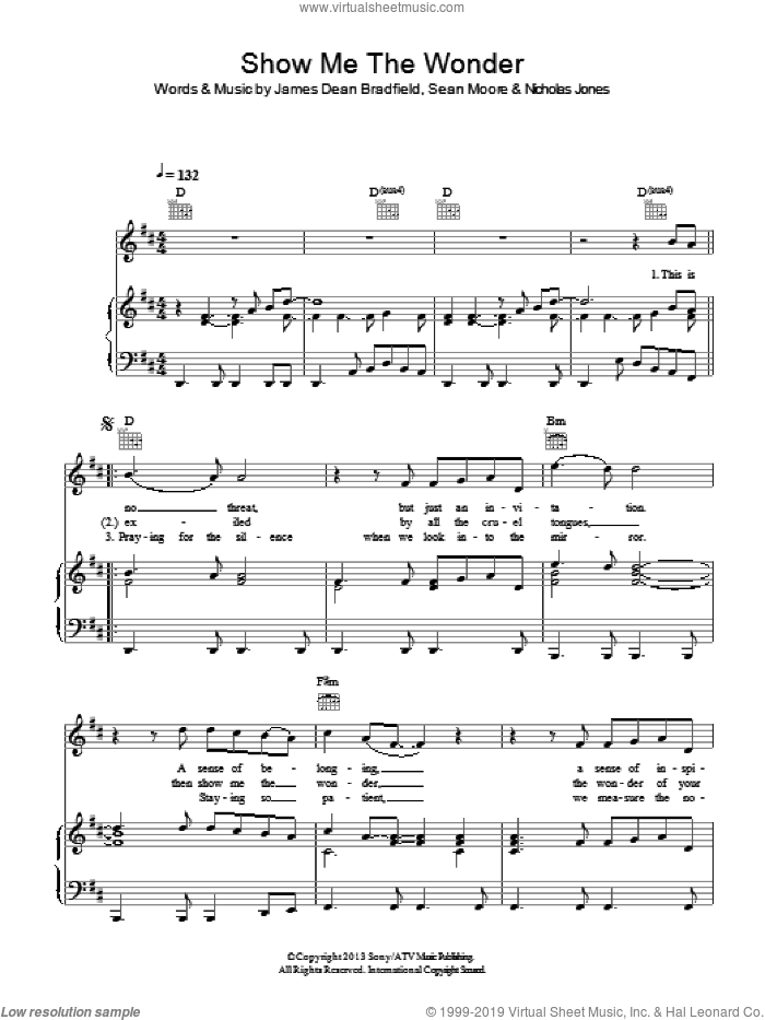 Show Me The Wonder sheet music for voice, piano or guitar by Sean Moore, Manic Street Preachers and James Dean Bradfield. Score Image Preview.