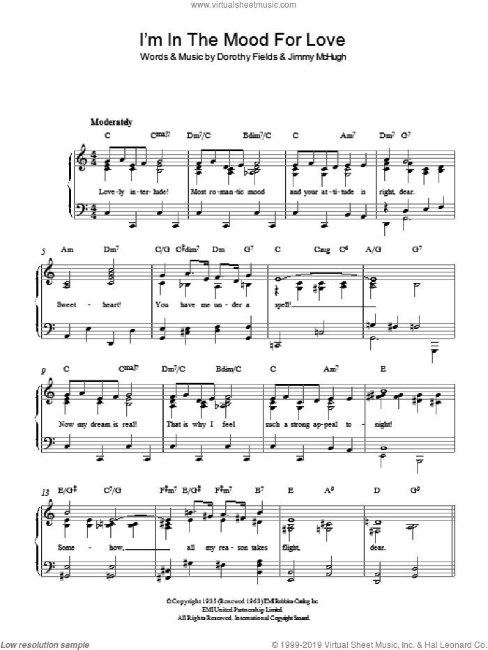 I'm In The Mood For Love sheet music for piano solo by Dorothy Fields and Jimmy McHugh, easy skill level