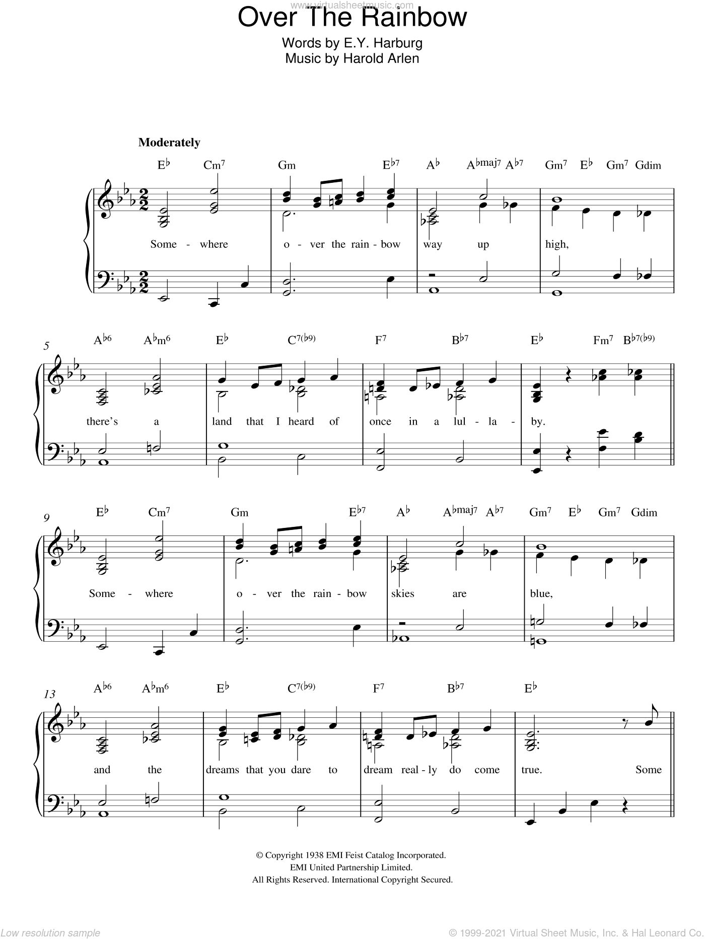 Over The Rainbow (from 'The Wizard Of Oz') sheet music for piano solo by Harold Arlen and E.Y. Harburg, easy. Score Image Preview.