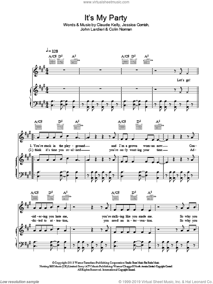It's My Party sheet music for voice, piano or guitar by Jessie J, Claude Kelly, Colin Norman, Jessica Cornish and John Lardieri, intermediate skill level
