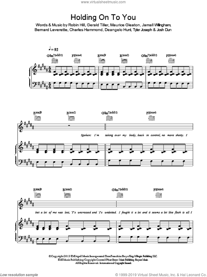 Holding On To You sheet music for voice, piano or guitar by Twenty One Pilots, Bernard Leverette, Charles Hammond, Deangelo Hunt, Gerald Tiller, Jamall Willingham, Josh Dun, Maurice Gleaton, Robin Hill and Tyler Joseph, intermediate skill level