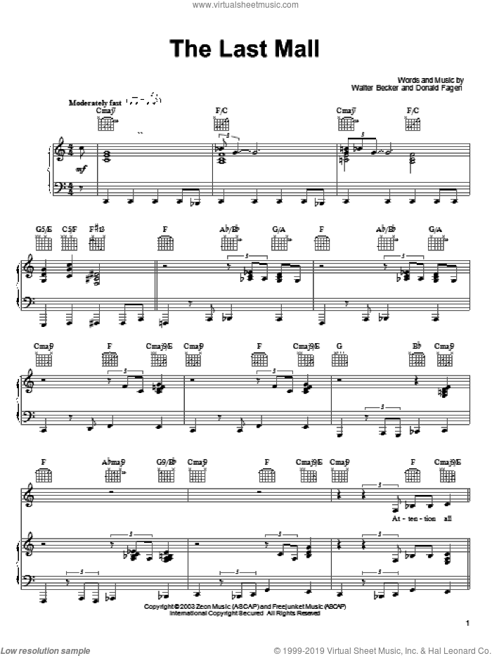 The Last Mall sheet music for voice, piano or guitar by Walter Becker and Donald Fagen. Score Image Preview.