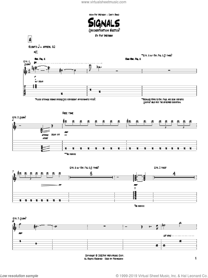 Signals (Orchestrion Sketch) sheet music for guitar (tablature) by Pat Metheny, intermediate guitar (tablature). Score Image Preview.