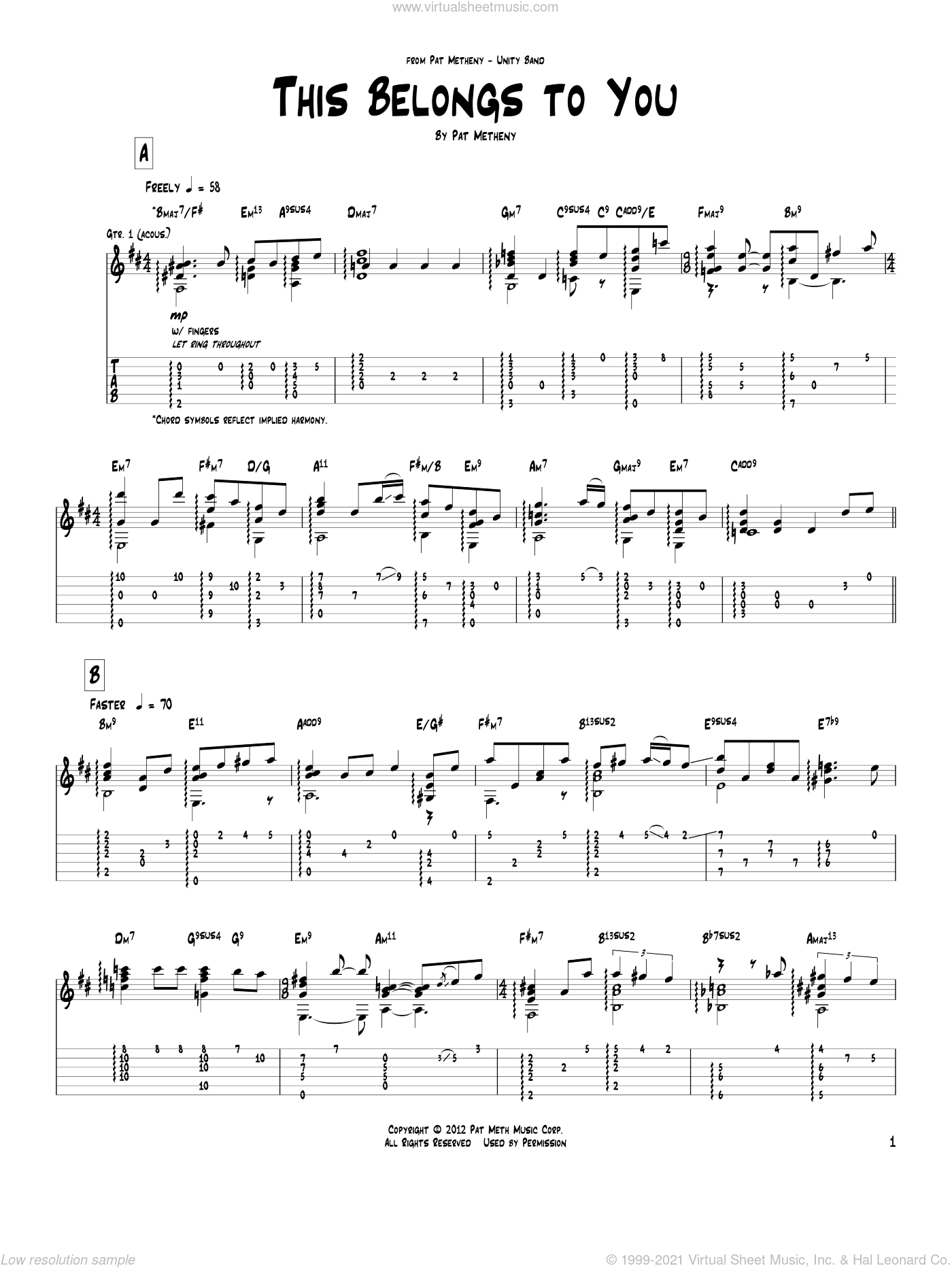 This Belongs To You sheet music for guitar (tablature) by Pat Metheny. Score Image Preview.