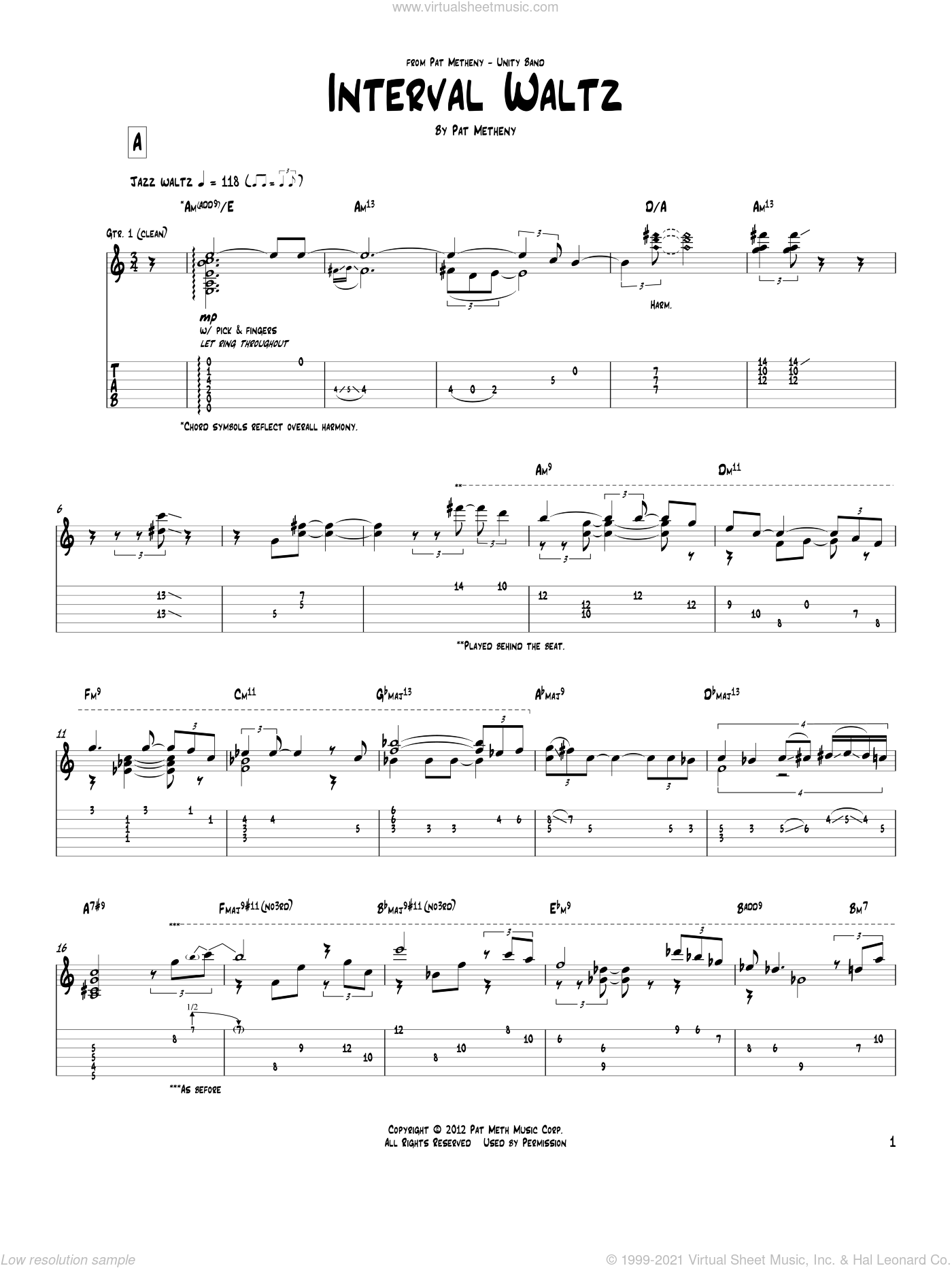 Interval Waltz sheet music for guitar (tablature) by Pat Metheny. Score Image Preview.