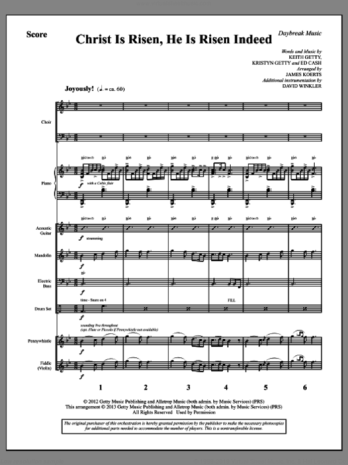 Christ Is Risen, He Is Risen Indeed (COMPLETE) sheet music for orchestra/band by Keith Getty and James Koerts, intermediate skill level