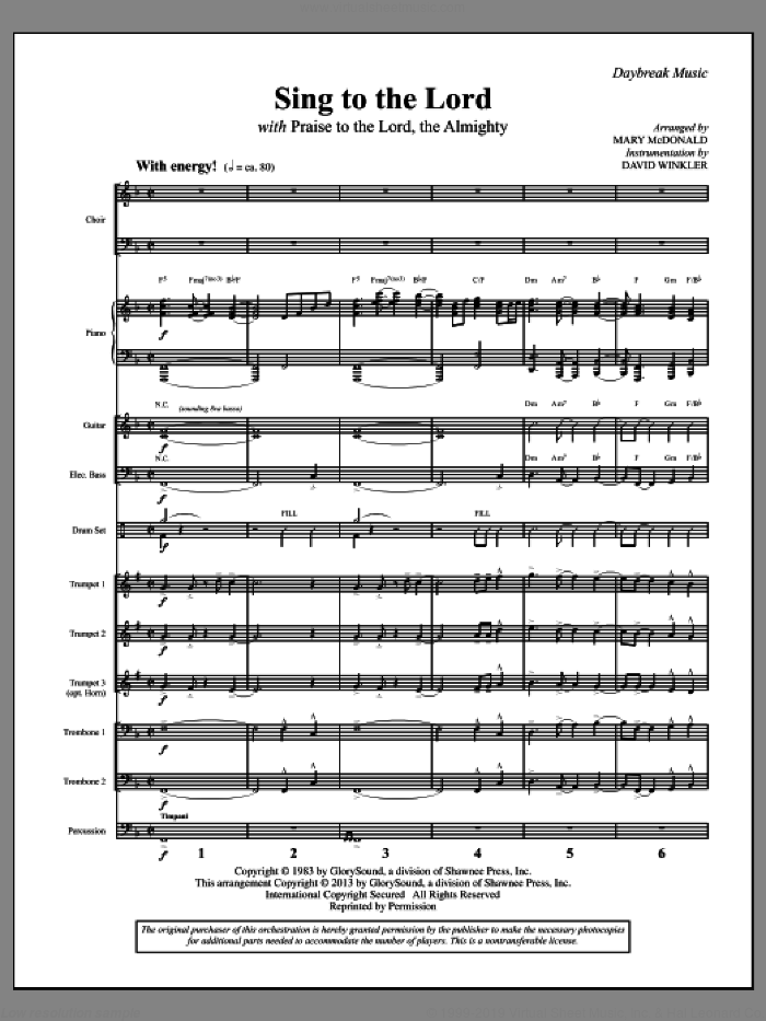 Sing To The Lord (with 'Praise To The Lord, The Almighty') (COMPLETE) sheet music for orchestra/band by Robert Sterling and Michael McDonald, intermediate skill level