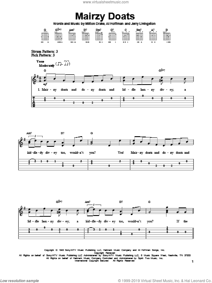 Mairzy Doats sheet music for guitar solo (easy tablature) by Milton Drake and Al Hoffman. Score Image Preview.