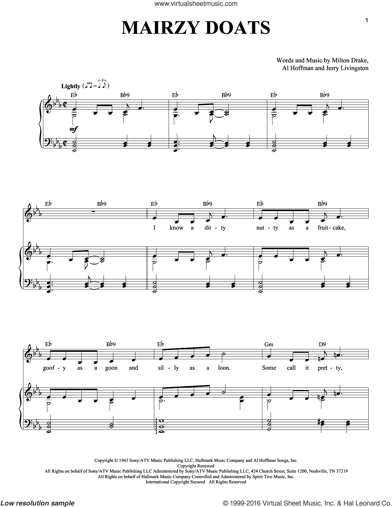 Mairzy Doats sheet music for voice and piano by Milton Drake and Al Hoffman. Score Image Preview.