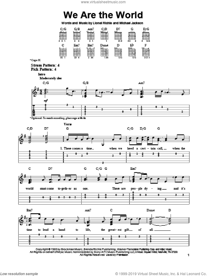 We Are The World sheet music for guitar solo (easy tablature) by Lionel Richie, Michael Jackson and USA For Africa, easy guitar (easy tablature)
