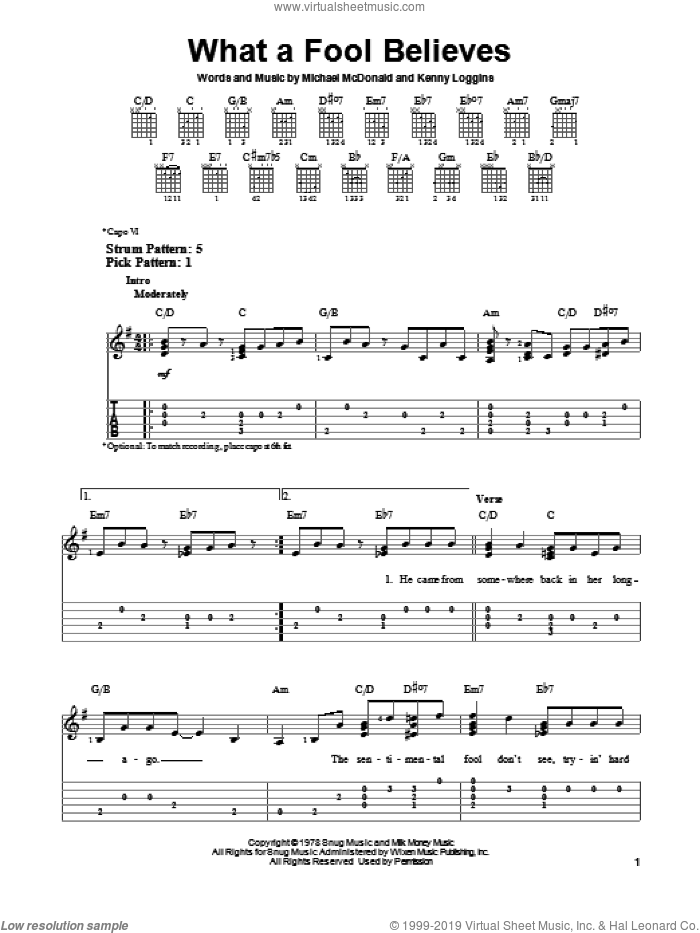 What A Fool Believes sheet music for guitar solo (easy tablature) by The Doobie Brothers, Kenny Loggins and Michael McDonald, easy guitar (easy tablature). Score Image Preview.