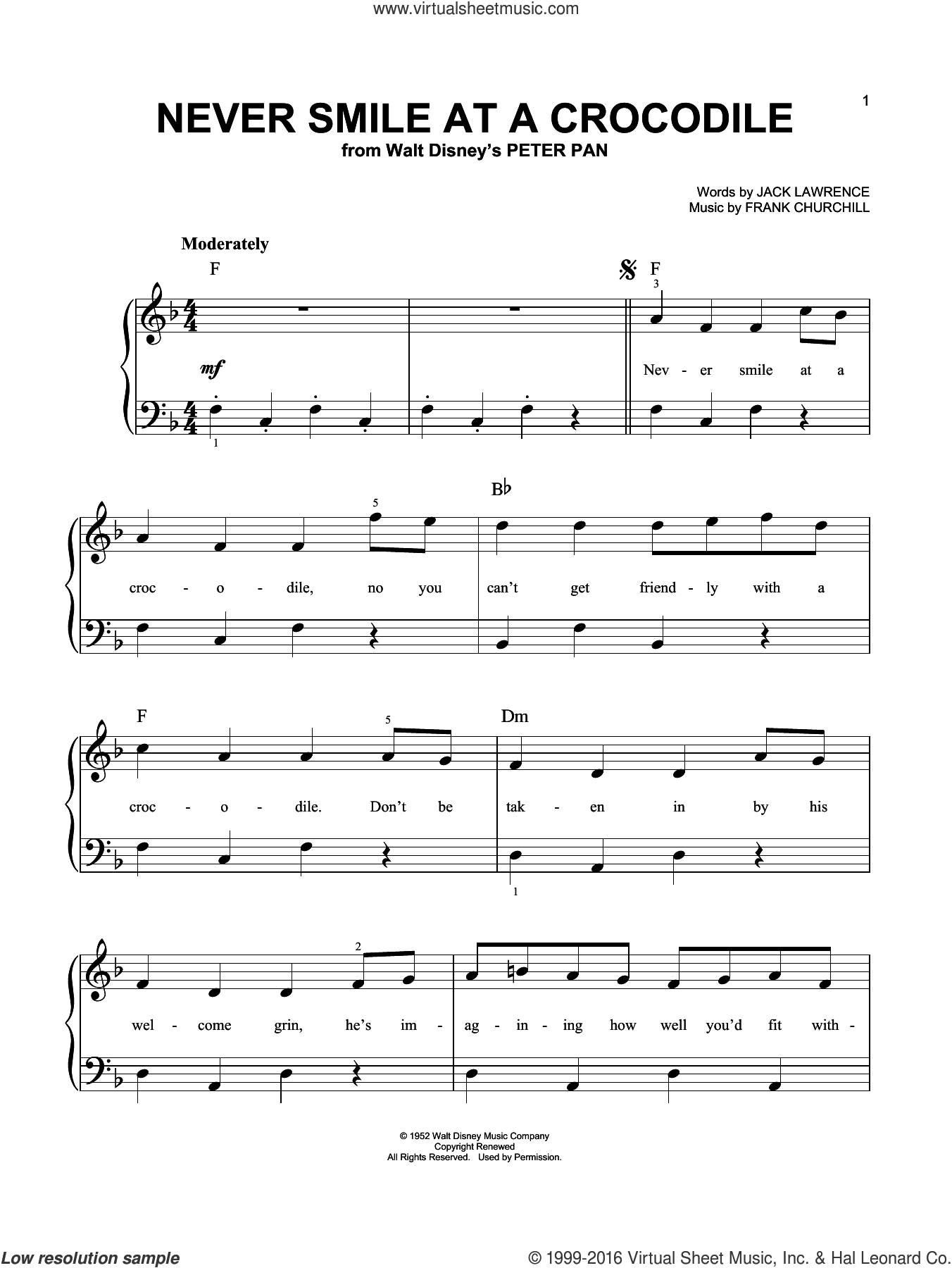 Never Smile At A Crocodile sheet music for piano solo (chords) by Jack Lawrence