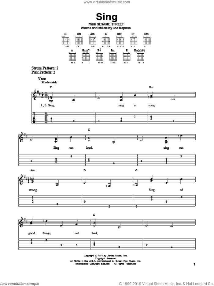 Sing sheet music for guitar solo (easy tablature) by Carpenters, easy guitar (easy tablature)