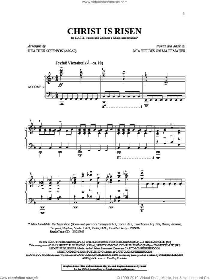 Christ Is Risen sheet music for choir (SATB) by Heather Sorenson and Matt Maher. Score Image Preview.