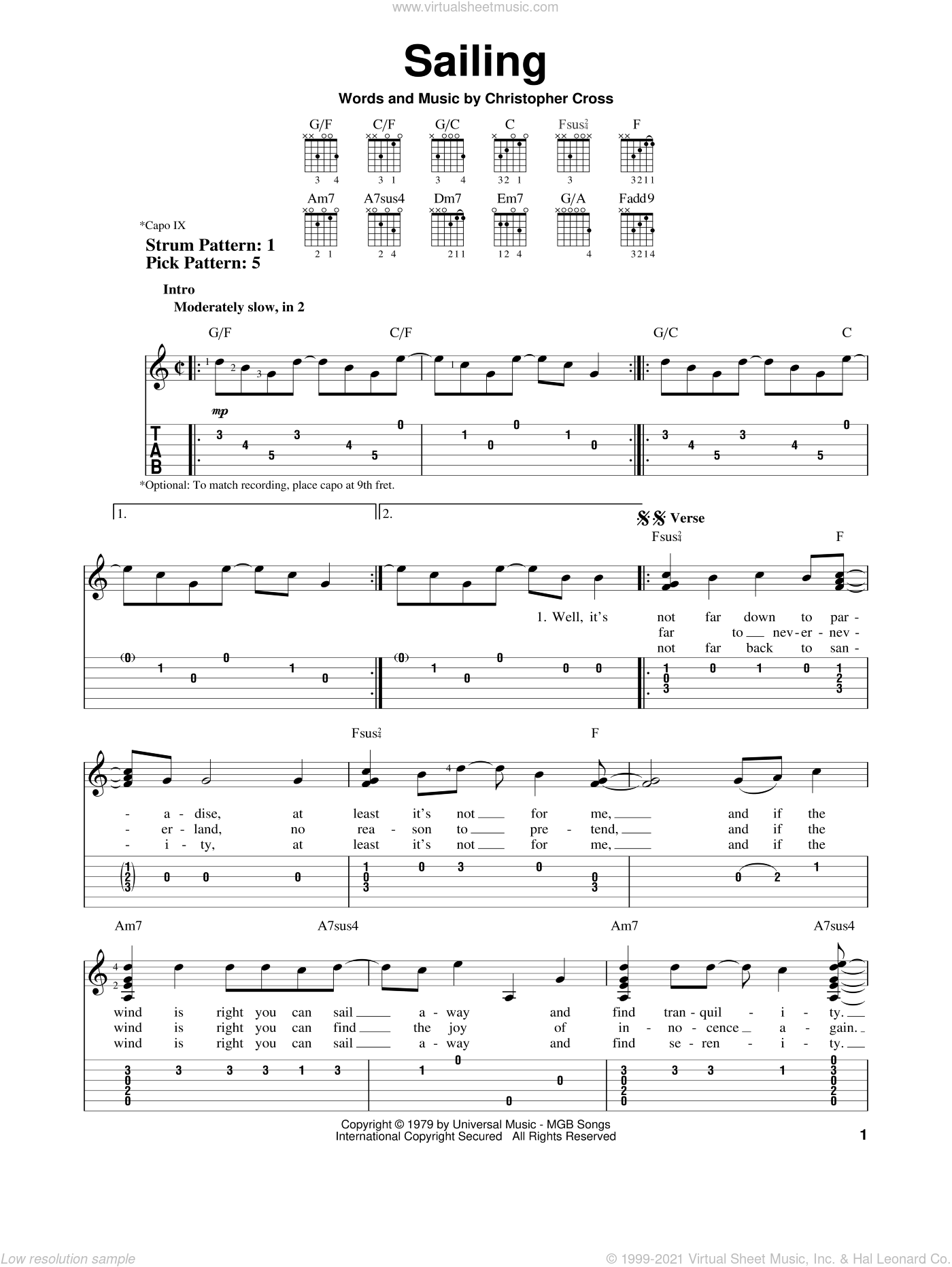 Sailing sheet music for guitar solo (easy tablature) by Christopher Cross. Score Image Preview.