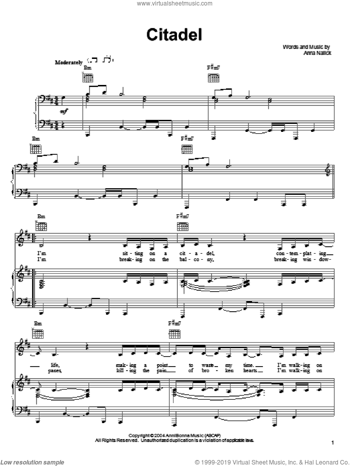 Citadel sheet music for voice, piano or guitar by Anna Nalick. Score Image Preview.