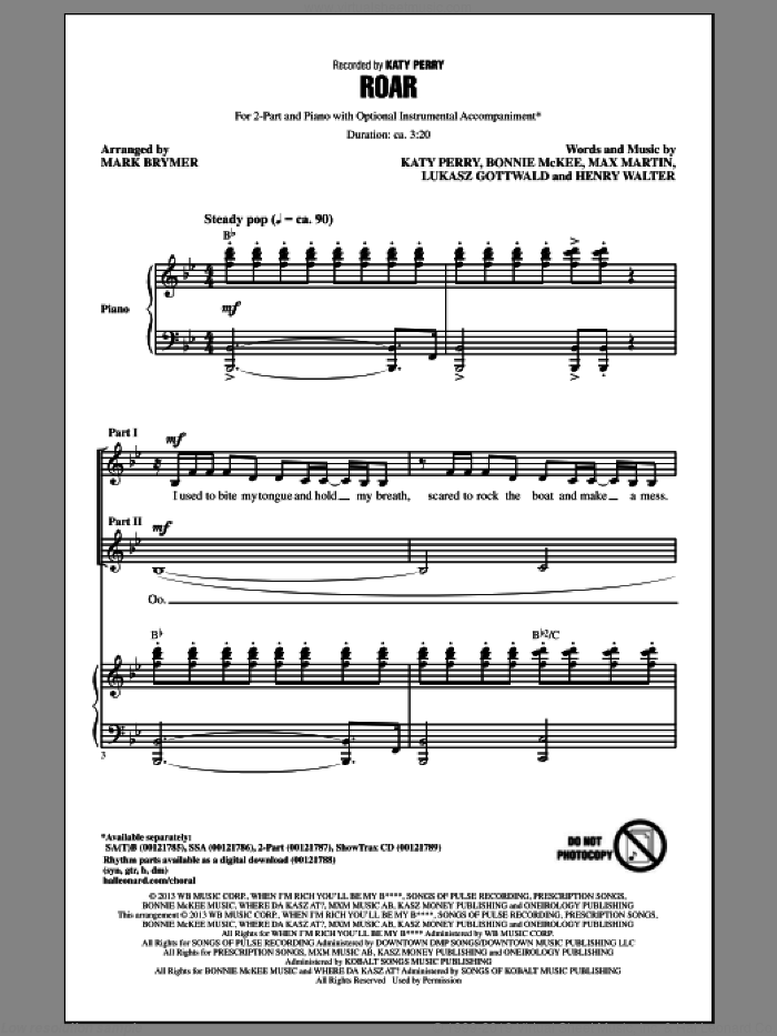 Roar sheet music for choir (duets) by Mark Brymer and Katy Perry. Score Image Preview.