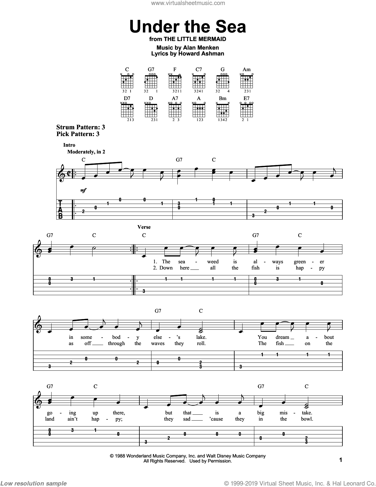 Under The Sea sheet music for guitar solo (easy tablature) by Howard Ashman and Alan Menken, easy guitar (easy tablature). Score Image Preview.