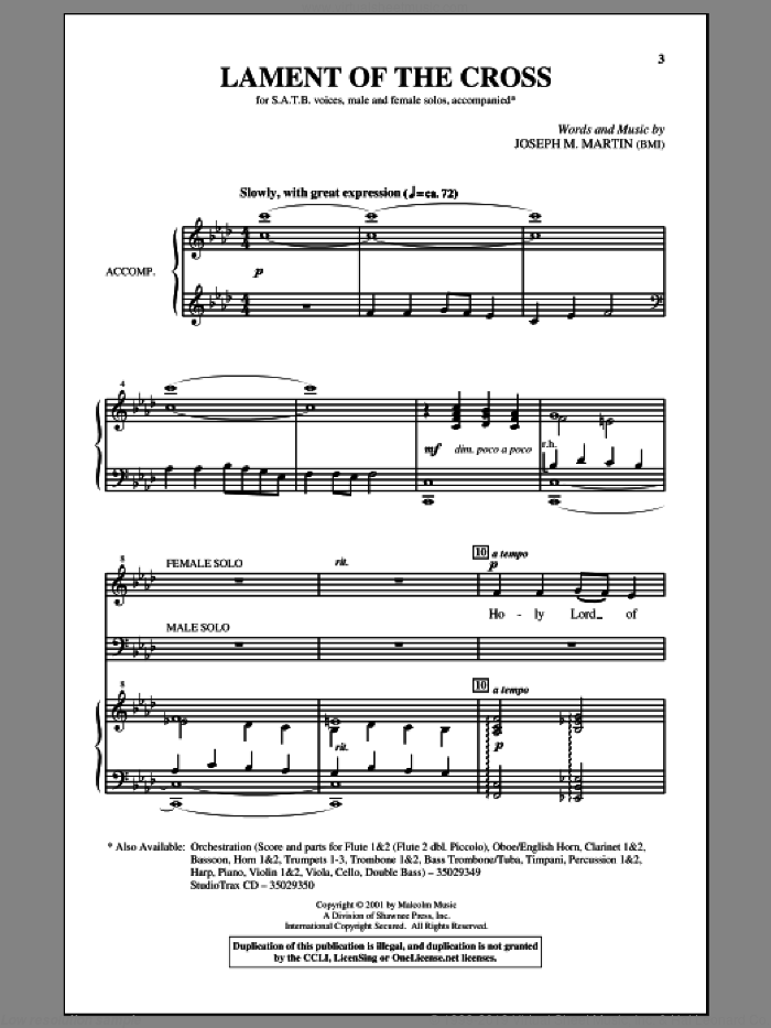 Lament Of The Cross sheet music for choir and piano (SATB) by Joseph M. Martin. Score Image Preview.