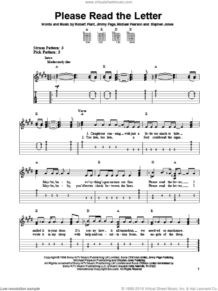 Please Read The Letter sheet music for guitar solo (easy tablature) by Robert Plant and Jimmy Page. Score Image Preview.