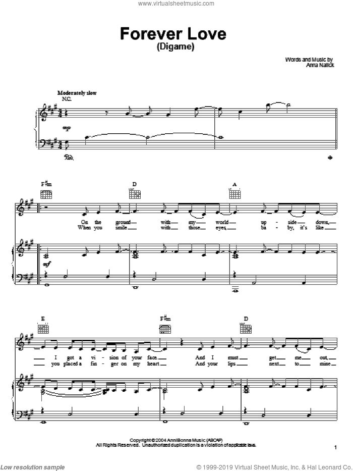 Forever Love (Digame) sheet music for voice, piano or guitar by Anna Nalick, intermediate. Score Image Preview.