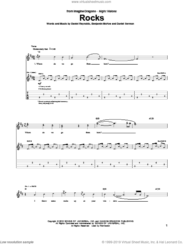 Rocks sheet music for guitar (tablature) by Imagine Dragons. Score Image Preview.