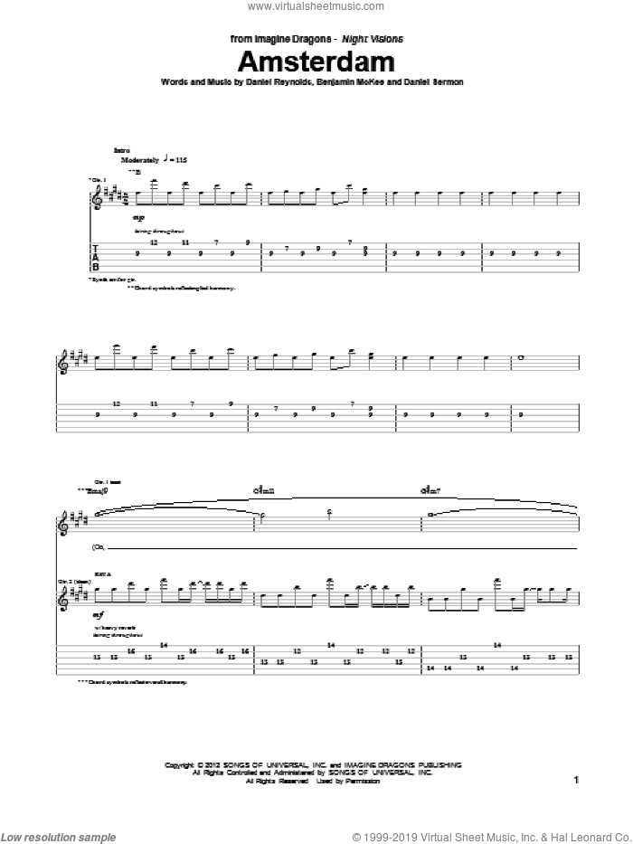 Amsterdam sheet music for guitar (tablature) by Imagine Dragons, intermediate skill level