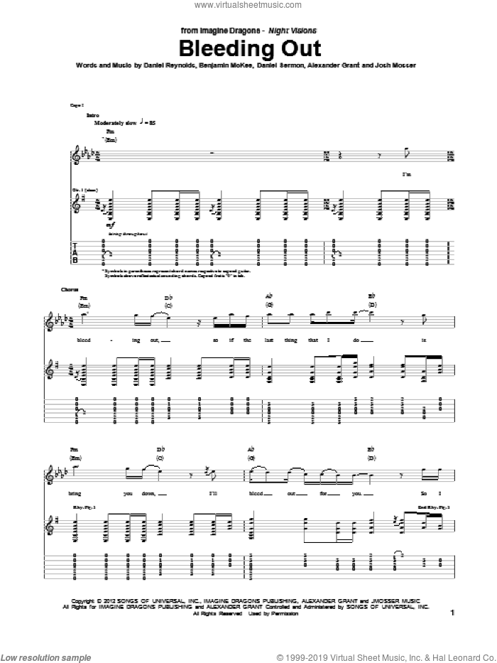 Bleeding Out sheet music for guitar (tablature) by Imagine Dragons, intermediate skill level