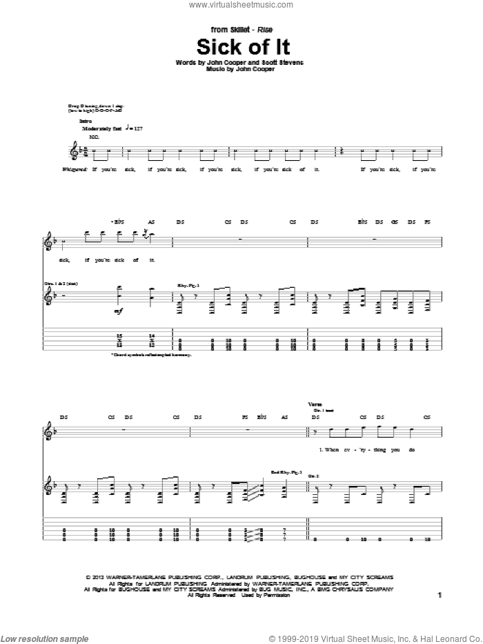 Sick Of It sheet music for guitar (tablature) by Skillet, intermediate guitar (tablature). Score Image Preview.