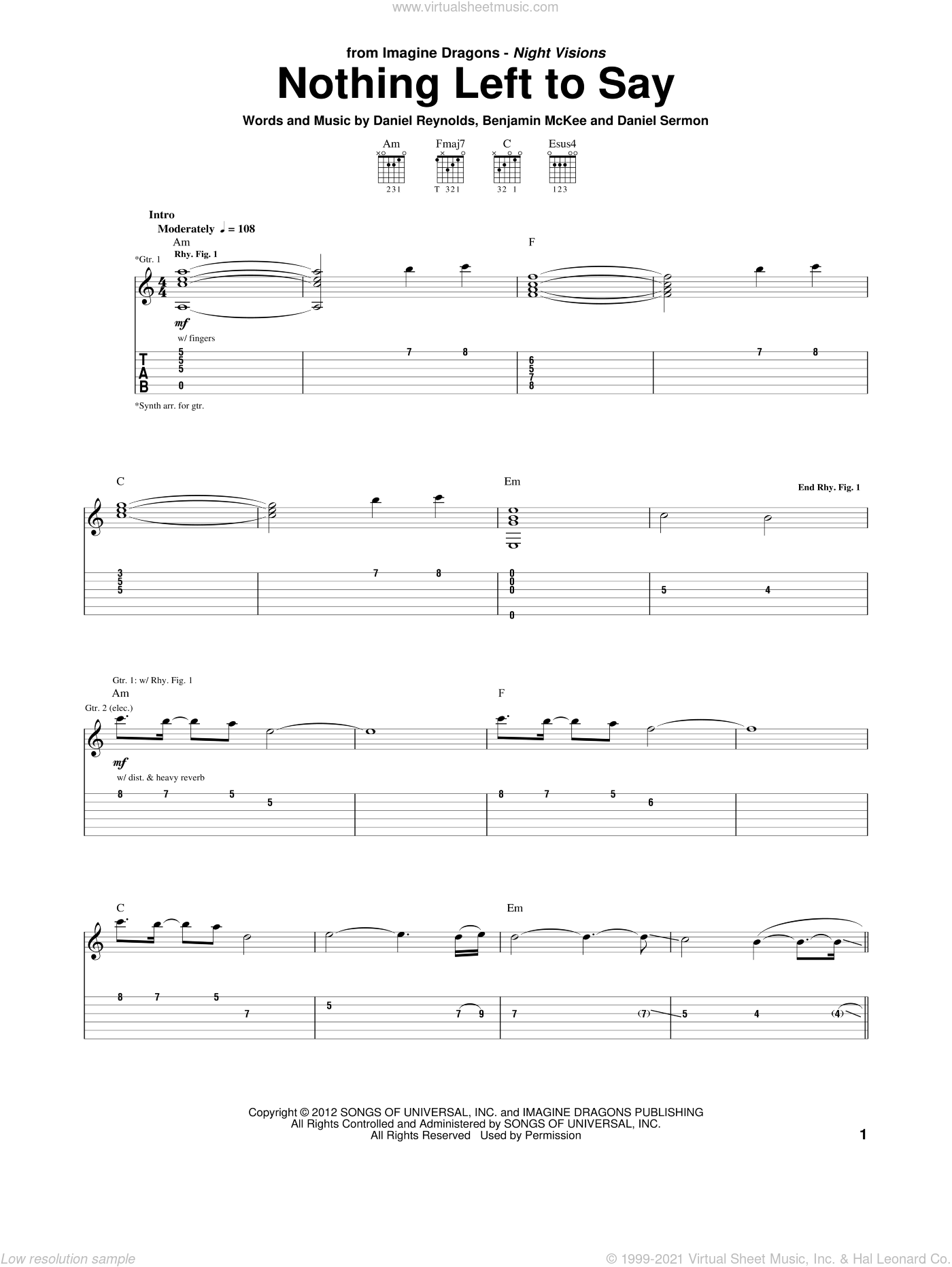 Nothing Left To Say sheet music for guitar (tablature) by Imagine Dragons