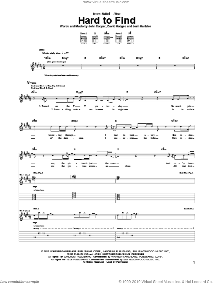 Hard To Find sheet music for guitar (tablature) by Skillet. Score Image Preview.