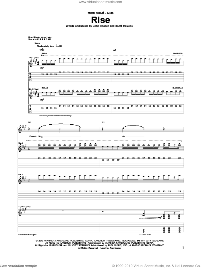 Rise sheet music for guitar (tablature) by Skillet, intermediate skill level