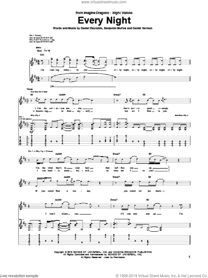 Every Night sheet music for guitar (tablature) by Imagine Dragons, intermediate skill level