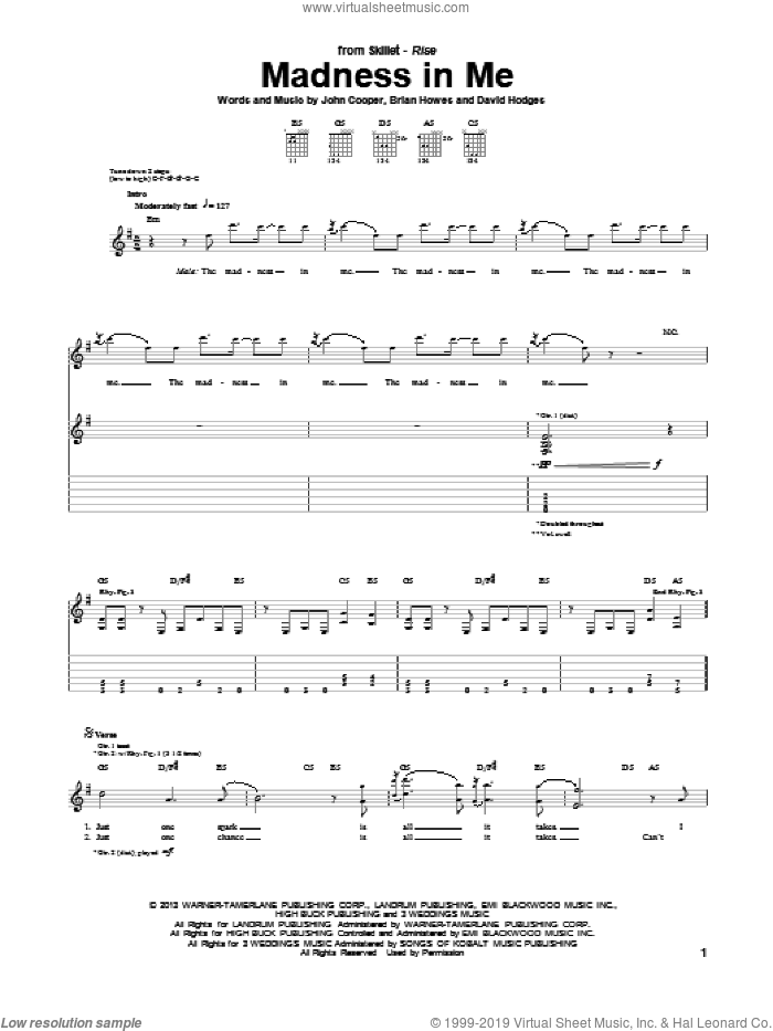 Madness In Me sheet music for guitar (tablature) by Skillet. Score Image Preview.