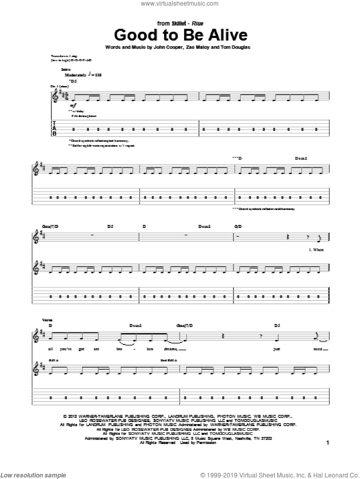 Good To Be Alive sheet music for guitar (tablature) by Skillet. Score Image Preview.