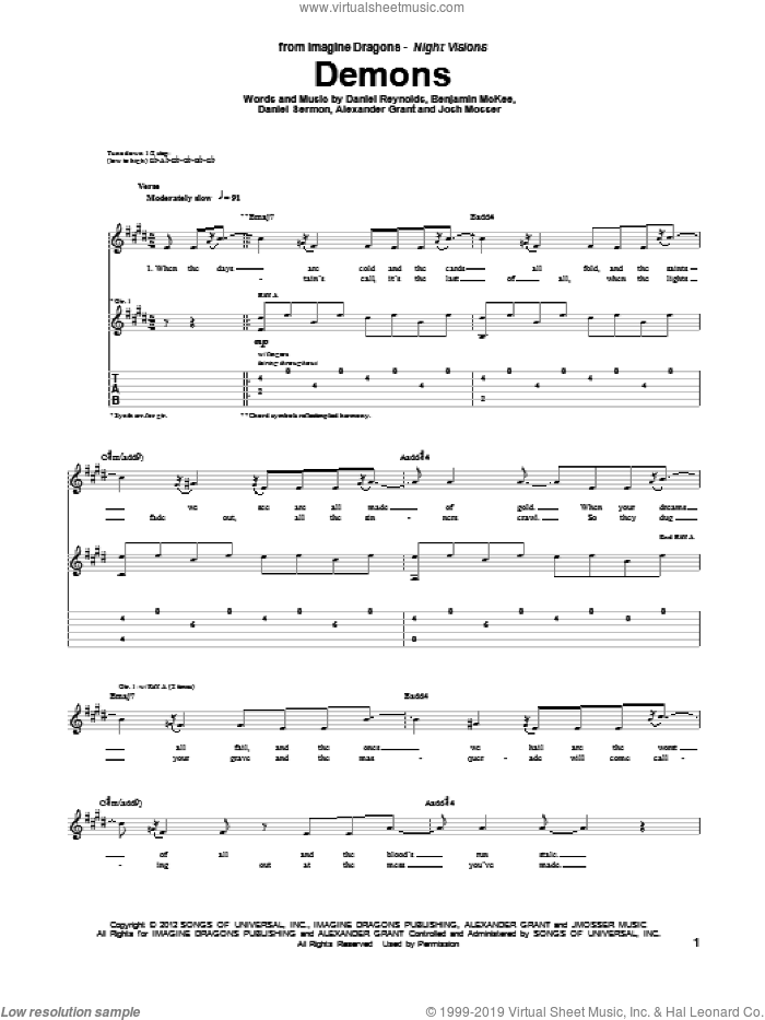 Demons sheet music for guitar (tablature) by Imagine Dragons. Score Image Preview.
