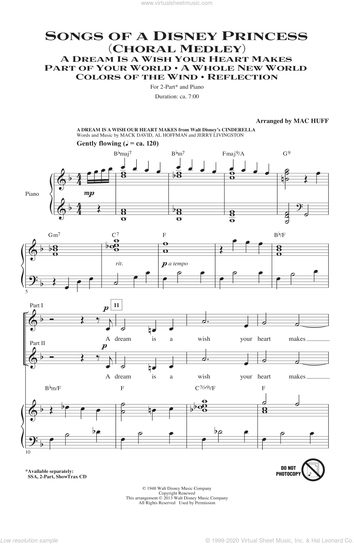 Songs of a Disney Princess (Choral Medley) sheet music for choir (duets) by Mac Huff. Score Image Preview.