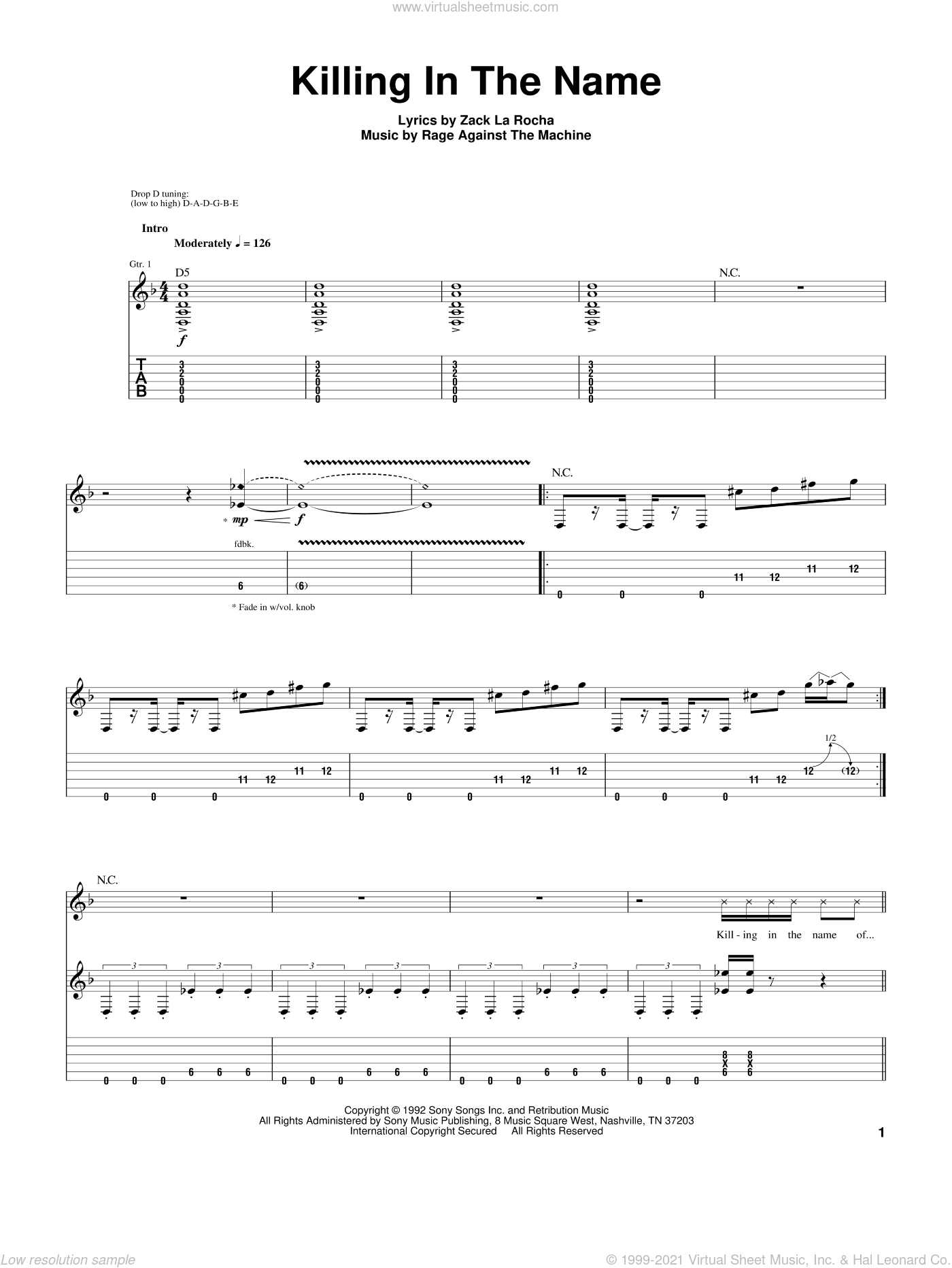 machine killing in the name sheet music for guitar tablature. Black Bedroom Furniture Sets. Home Design Ideas