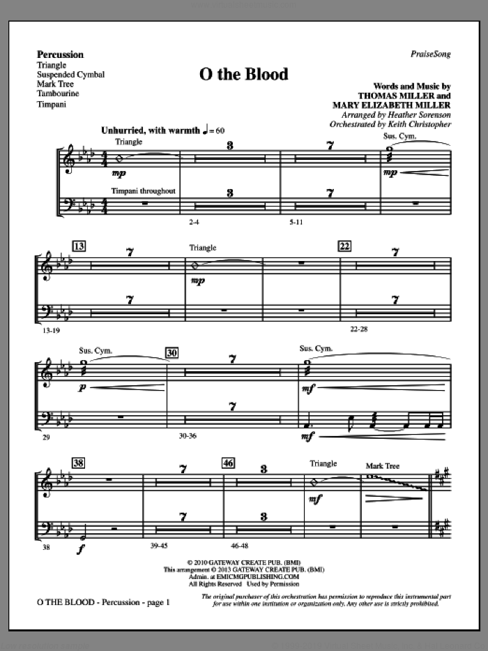 O The Blood sheet music for orchestra/band (percussion) by Heather Sorenson, Gateway Worship and Thomas Miller, intermediate skill level
