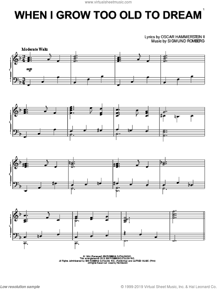 When I Grow Too Old To Dream, (intermediate) sheet music for piano solo by Sigmund Romberg and Oscar II Hammerstein, intermediate skill level