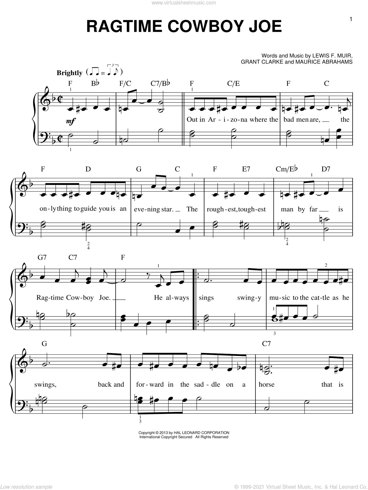 Ragtime Cowboy Joe sheet music for piano solo by Belle Baker, Grant Clarke and Lewis F. Muir, easy piano. Score Image Preview.