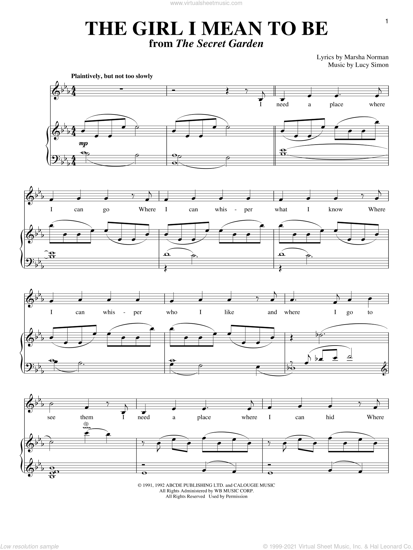 The Girl I Mean To Be sheet music for voice and piano by Marsha Norman and Lucy Simon, intermediate skill level