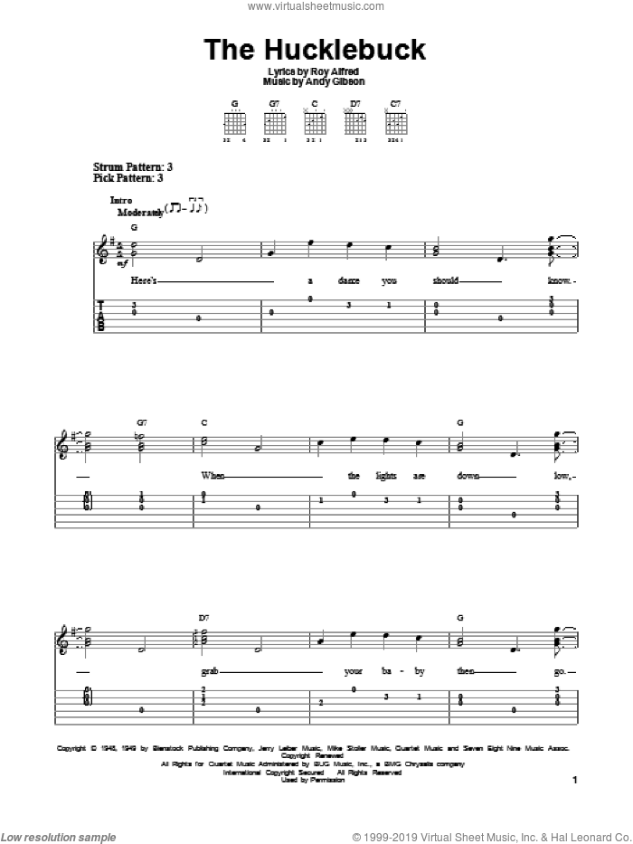 The Hucklebuck sheet music for guitar solo (easy tablature) by Andy Gibson and Roy Alfred, easy guitar (easy tablature). Score Image Preview.