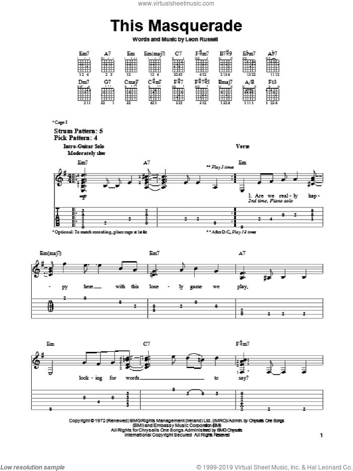 This Masquerade sheet music for guitar solo (easy tablature) by Leon Russell, easy guitar (easy tablature)