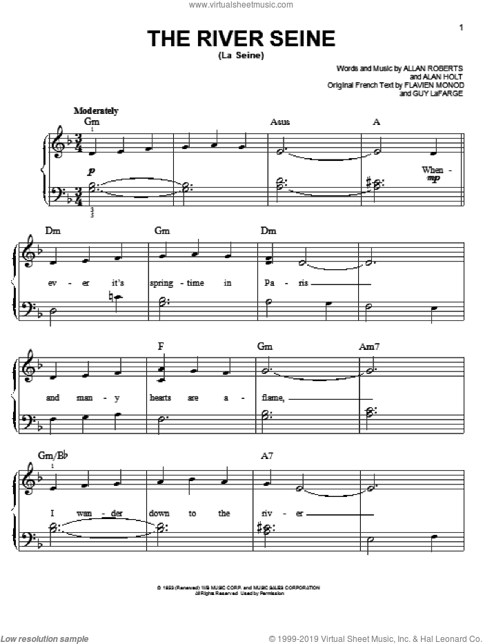 The River Seine (La Seine) sheet music for piano solo by Allan Roberts, easy piano. Score Image Preview.