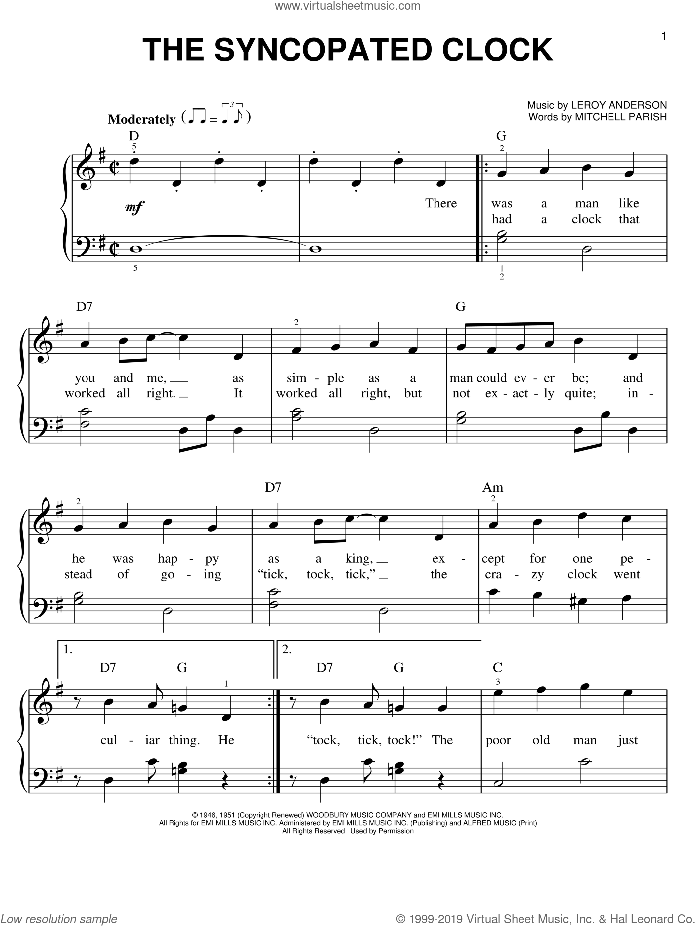 The Syncopated Clock sheet music for piano solo by LeRoy Anderson. Score Image Preview.