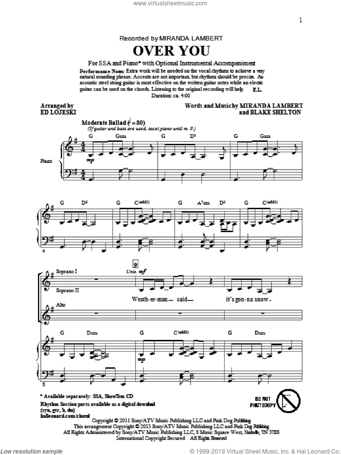 Over You sheet music for choir (SSA: soprano, alto) by Ed Lojeski and Miranda Lambert, intermediate skill level
