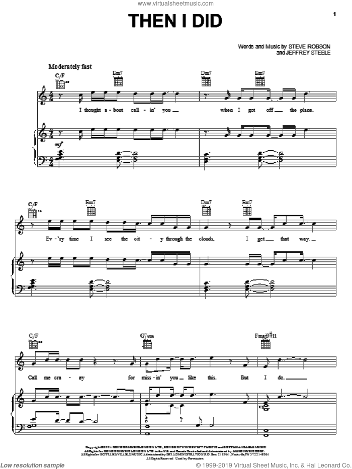 Then I Did sheet music for voice, piano or guitar by Rascal Flatts, Jeffrey Steele and Steve Robson, intermediate skill level